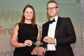 Lizzie Jones, Operations Director of SC Group accepts the Made in the South West Award, 2017