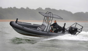 Proteum's OXE diesel outboard engine powering military Ballistic RIB