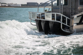 River Thames Landing Craft powered by 150HP OXE Diesel Outboards which were supplied by Proteum